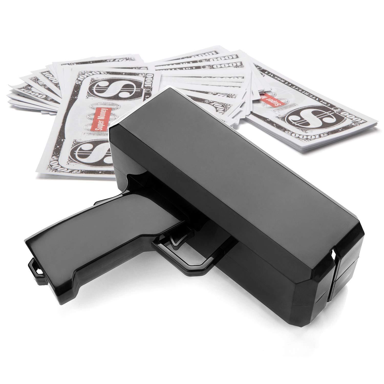 Wowok Black Money Gun Super Money Guns Paper Playing Spary Money Gun Make it Rain Toy Gun with Play Money & 9V Batteries Cash Gun for Game Party Supplies by Wowok (Image #6)