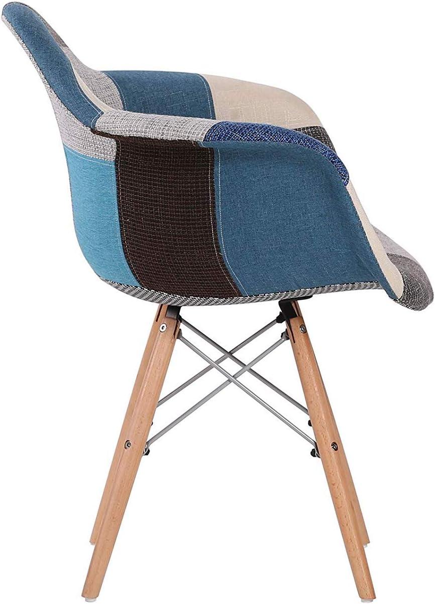 Blu N//A Set di 2 sedie da Pranzo Sedia da Cucina Sedia Lounge Sedia di Design con Schienale in Lino Pezzi in Legno massello poltrone in Tessuto Multicolore con Rivestimento Patchwork per la Sala