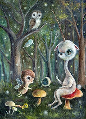 Surreal Unicorn & Animal Friends in Enchanted Forest Print, Fine Art Gift, Size Options Available