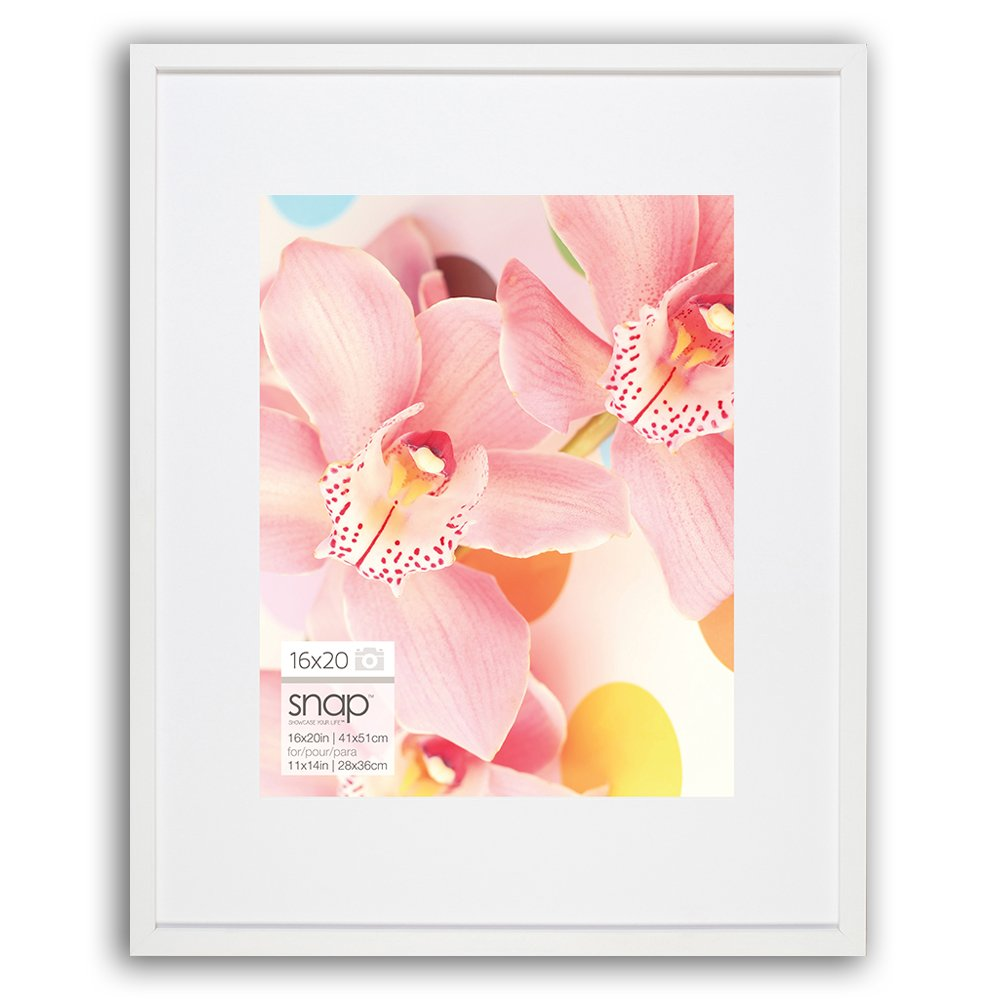 Snap 16x20 Wall Single White Mat for 11x14 Picture Frame, 16 inches x 20 inches