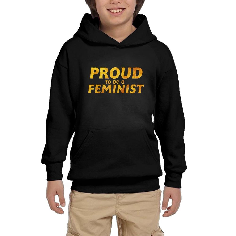 Youth Black Hoodie Proud To Be A Feminist Hoody Pullover Sweatshirt Pocket Pullover For Girls Boys M by Hapli