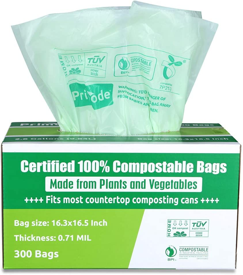 Compostable Bags ASTM D6400 By Primode | Premium Food Waste Bags, 100% Certified Compost Bags Small Kitchen 2.6 Gallon trash bags, Extra Thick 0.71 Certified by BPI & TUV(300)