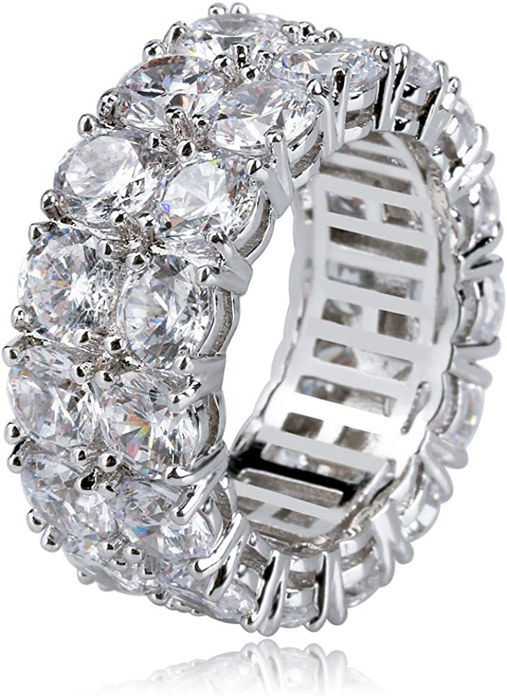 TOPGRILLZ 9mm 2Rows Round Cut 14K Silver Plated Iced out Lab Diamond Wedding Band Eternity Bands Ring for Men Women: Clothing