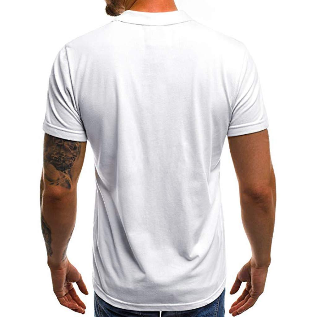 Mens Summer Casual Short Sleeve Slim T Shirt Pocket Button Fashion Top Blouse Teresamoon