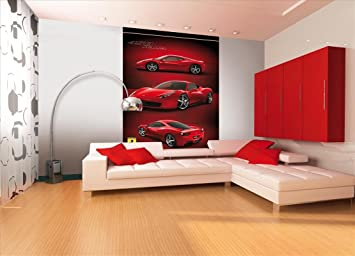 1Wall Ferrari Racing Car Feature Wallpaper Mural, Wood, Red, 1.58 X 2.32 M Part 71