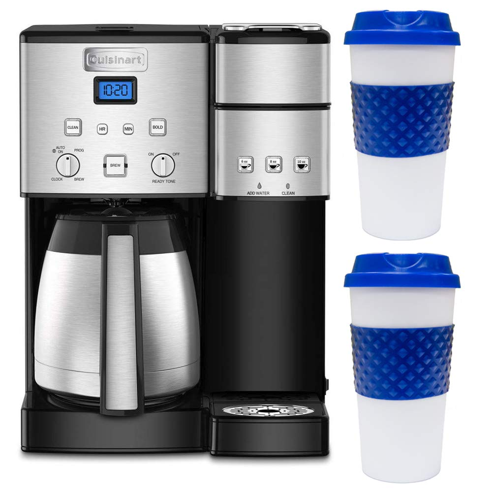 Cuisinart SS-20 Coffee Center 10-Cup Thermal Single-Serve Brewer Coffeemaker Silver (SS-20) with 2X Deco Chef Reusable 16-Ounce Capacity to Go Mug Blue/White