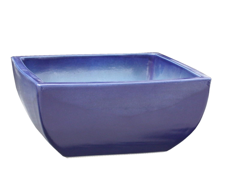 Keramik Pflanzschale Grabschale Deko-Schale quadratisch frostfest Größe 50 x 50 x 21 cm, Farbe effekt blau, Form 220.050.64 mit Bodenloch - Qualität von Hentschke Keramik