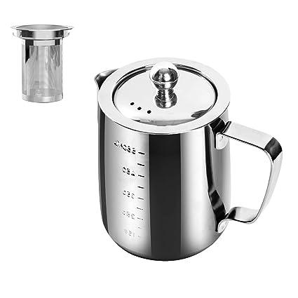 Chihee Jarra para espumar con leche, acero inoxidable 20 oz (600 ml) Jarra para leche con tapa y filtro para máquinas de café espresso, leche para ...