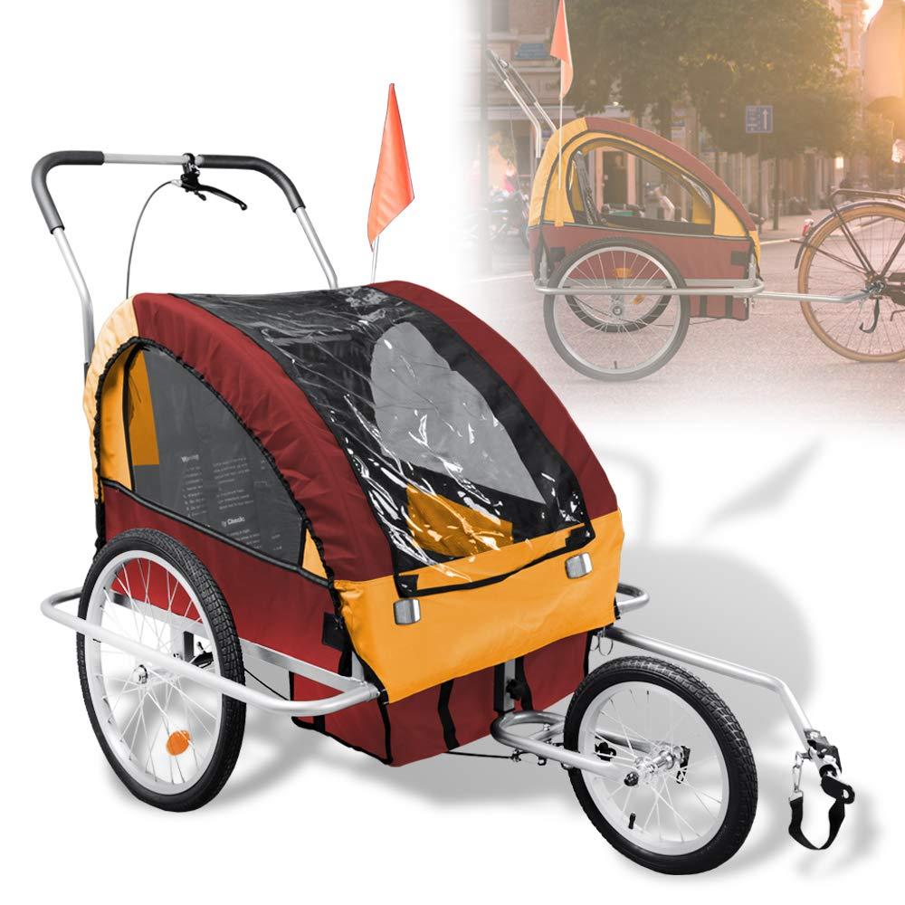 Hengda Kinderanhänger 2 in 1 5-Punkt Sicherheitsgurt Fahrradanhänger Jogger für 1-2 Kinder mit einstellbarer Federung