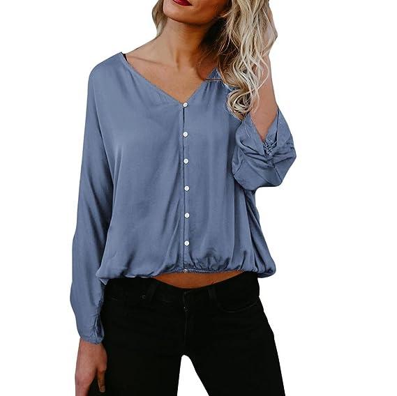 Lenfesh Mujeres Las Cuello En V de Flojas Camisas Blusa de Color Solido Manga Larga,