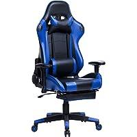 WOLTU Gaming Stuhl Racing Stuhl Bürostuhl Chefsessel Schreibtischstuhl Sportsitz mit Kopfstütze und Ledenkissen, Armlehne verstellbar, mit Fußstütze, Kunstleder, höhenverstellbar #853