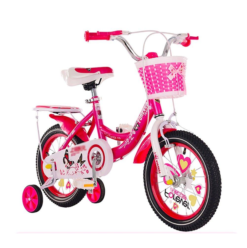 子供用キャリッジバイク12 14 16 18インチガールボーイベビーサイクリング2-3-6歳児用自転車ピンクローズレッドパープル B07DVXK1PV ローズレッド 18 inch