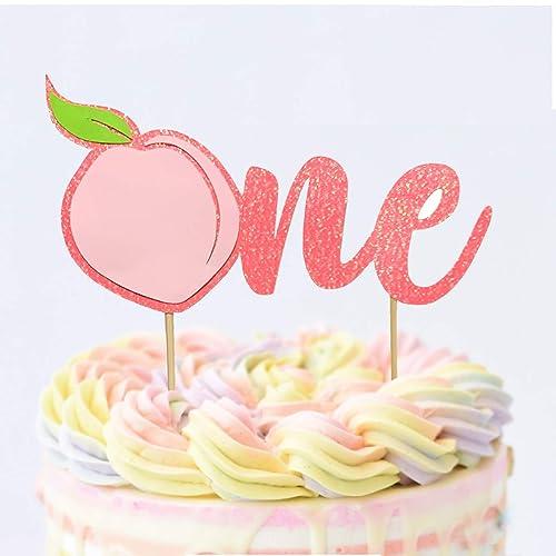 Incredible Amazon Com 1 Pc One Peach Coral Glitter First Birthday Cake Funny Birthday Cards Online Amentibdeldamsfinfo