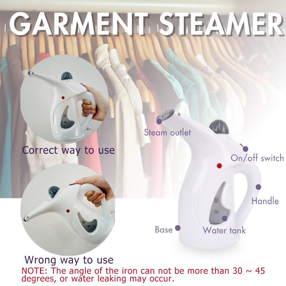Amazon.com - VANDORA Garment Steamer -Portable Multi-function Fabric Steamer - Handheld Powerful Steamer Perfect For Home and Travel (White) -