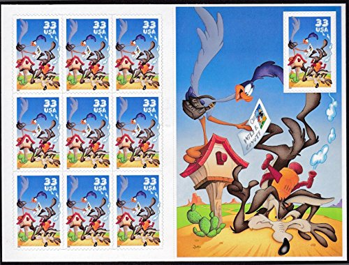 Free Wile E. Coyote & Road Runner Looney Tunes Sheet of 10 33-Cent Stamps, US, Scott 3391