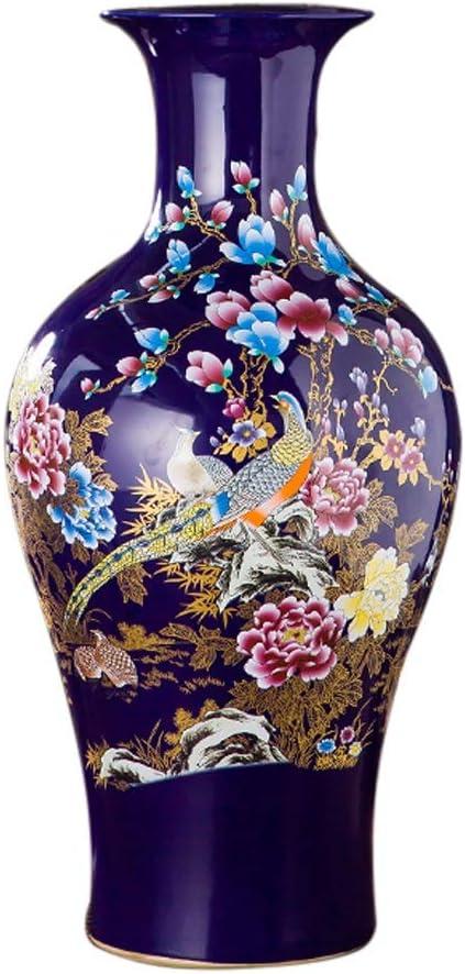 花器 花瓶セラミック床立ち大牡丹ドライフラワー装飾アートホーム家庭リビングルームホテルのベッドオフィスブルー33のx 66センチメートルのためのクラシック 花瓶