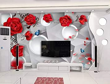 Amazon Com Wallpaper 3d Red Rose Hand Painted Circle Modern Living Room Bedroom Large Mural Wall Decoration Kitchen Dining