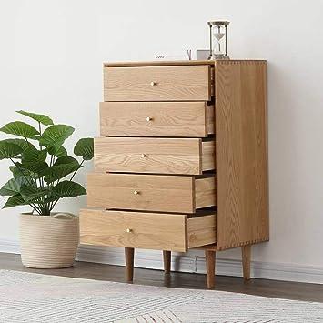 QiXian Nordic Tiroirs En Bois Massif Simple Chambre Moderne Armoire De  Rangement Commode Chêne Blanc Mobilier