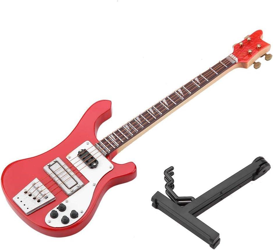 Modelo Eléctrico de La Guitarra Bajo Rojo Modelo de Réplica En Miniatura Mini Adornos Instrumento Musical Decoración Colección Regalo