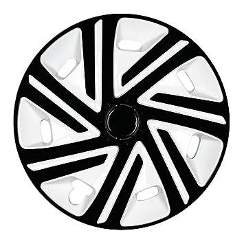 (tamaño a elegir) Cyrkon Tapacubos (Blanco y Negro) apto para casi todos los tipos de vehículos (universal): Amazon.es: Coche y moto