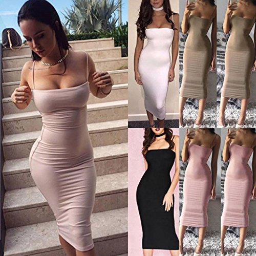 Straps Sexy Bodycon Women Dress Plain BSGSH Midi Spaghetti Clubwear Party for Sleeveless Pink Dress a4qU0ndw