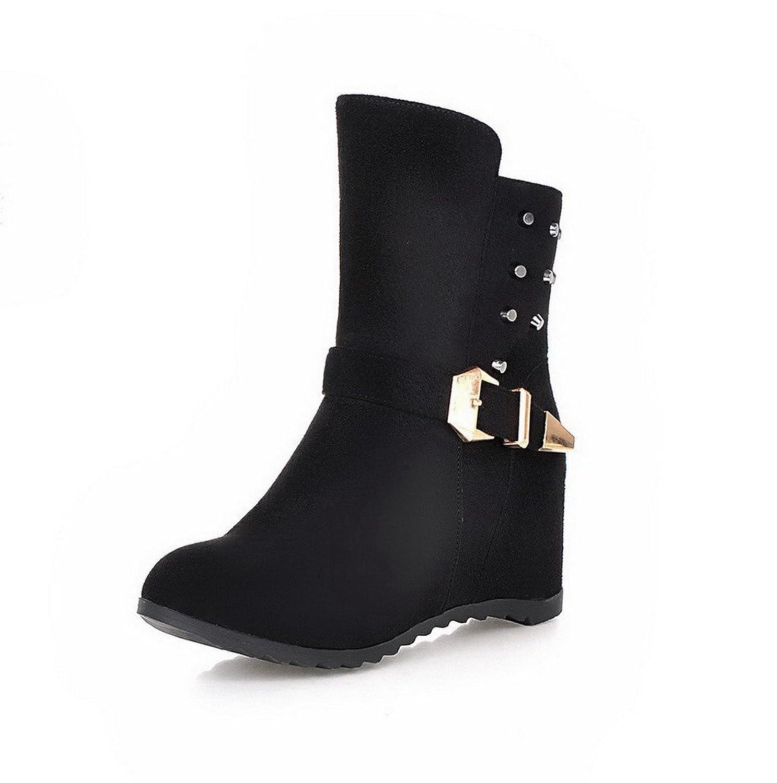 WeiPoot Women's Zipper High-Heels Imitated Suede Solid Low-top Boots