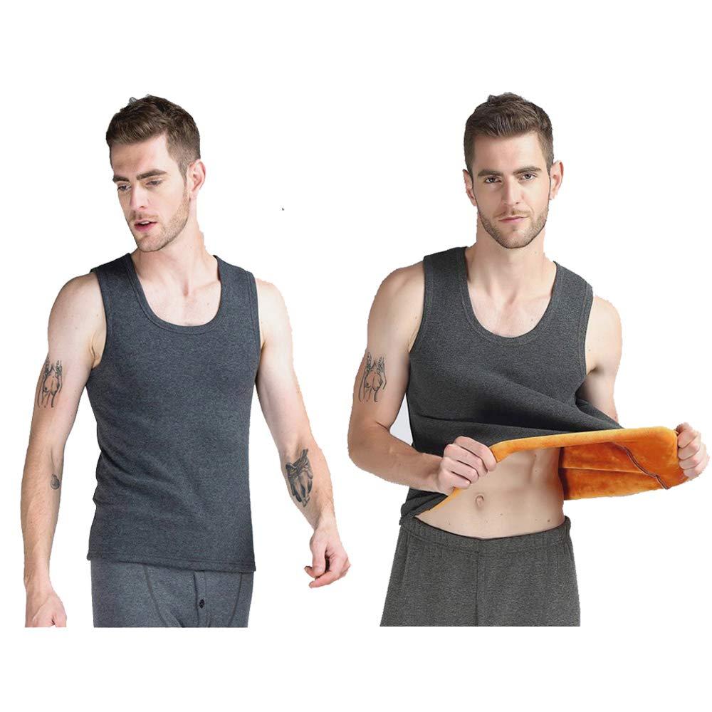 Men Thermal Tank Top Fleece Lined Underwear Warmth Vest By BIBIGAGA