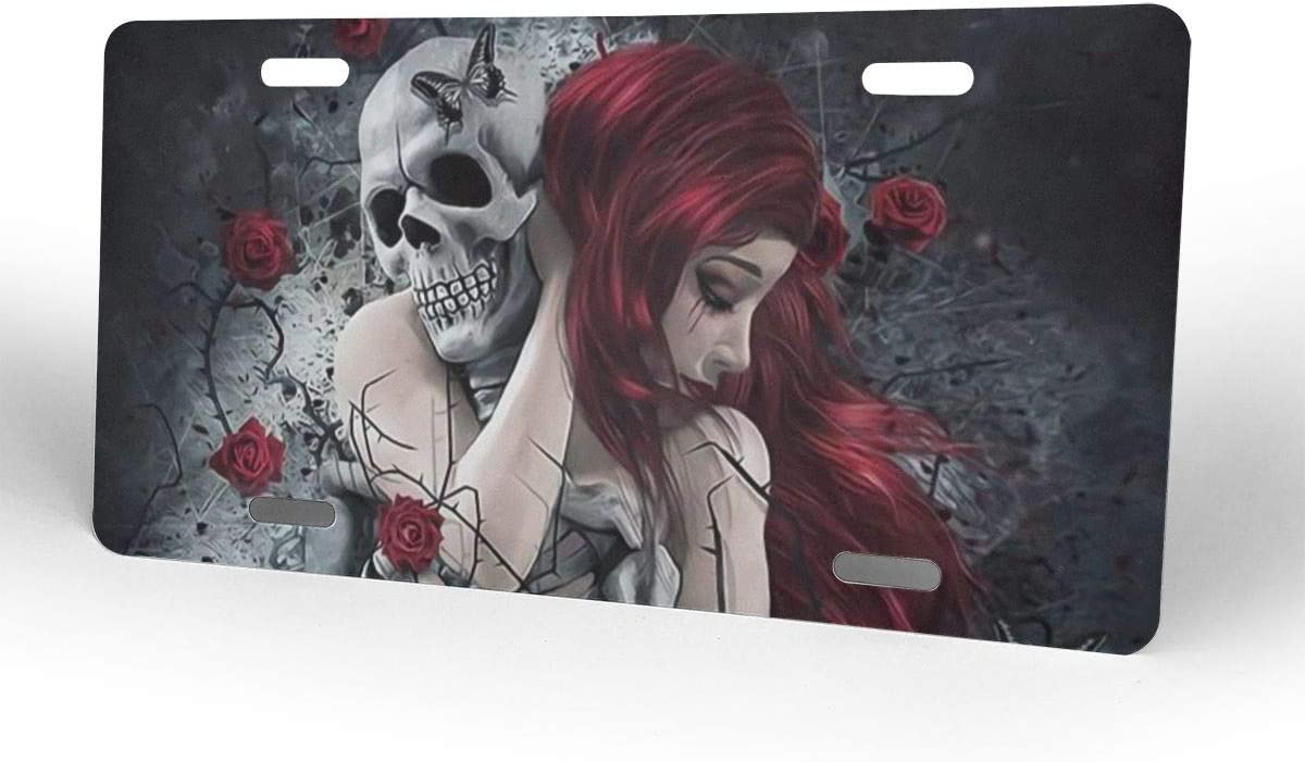 Red-haired Girl Rose Skull Love Halloween Themed Printed License Plates for Front of Car Tags Accessories Decorations Women Men Girls Ornament Items Merchandise Supplies Gifts