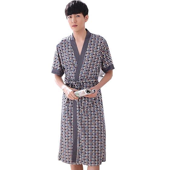 Flaydigo Men\'s 100% Cotton Robe Dressing Gown Short Lseeve Knee ...