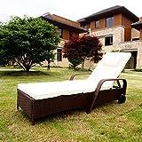 FoxHunter WestWood Rattan Day Chair Recliner Sun Bed Lounger Wicker Outdoor Garden Furniture Terrace Patio Brown