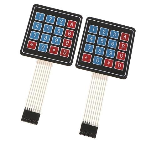 MagiDeal 2 Unids Matriz Matriz 4x4 Teclado de de 16 Teclas Interruptor de Membrana para Arduino