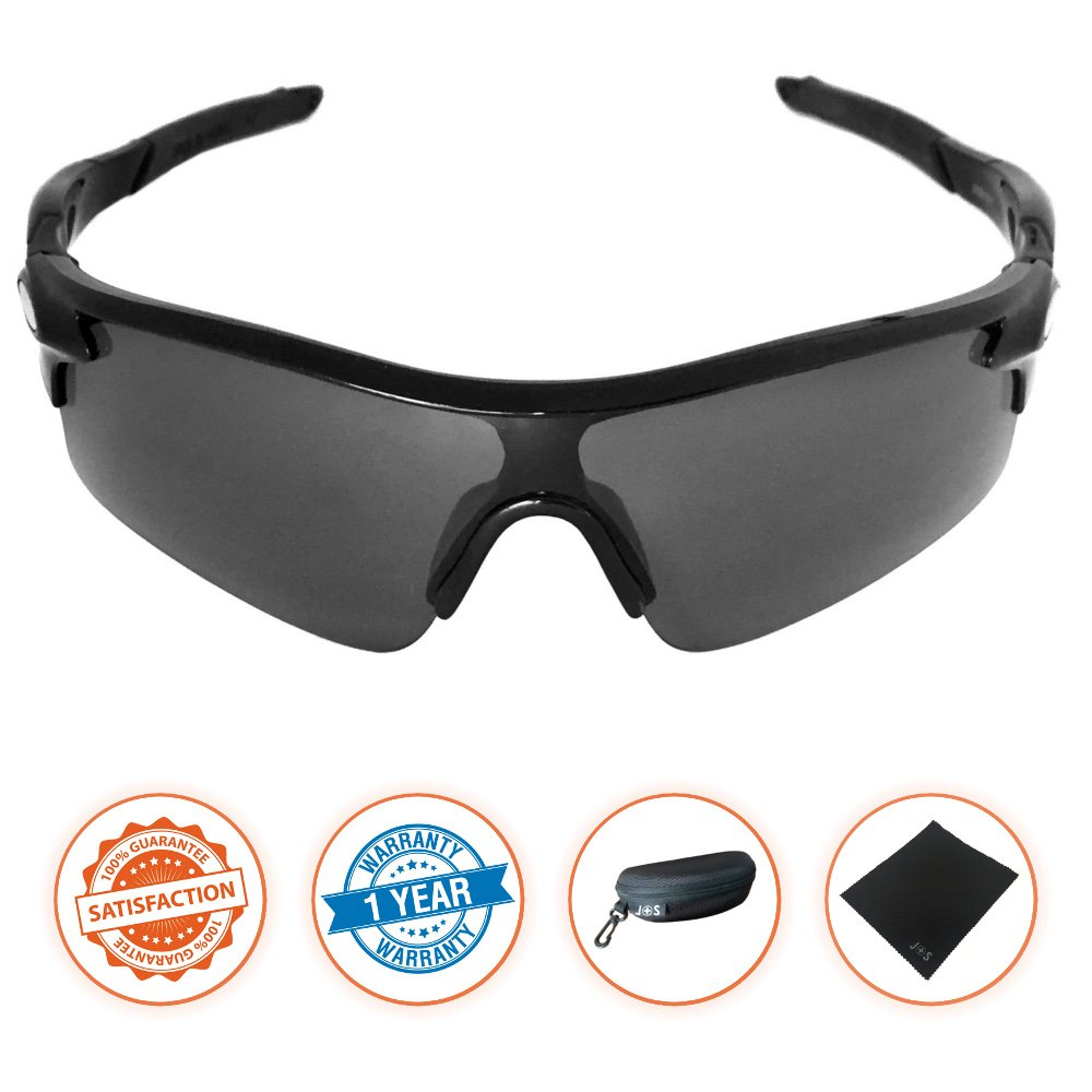 J+S Active PLUS Cycling Outdoor Sports Athlete's Sunglasses, 100% UV protection (Black Frame/Black Lens)
