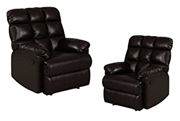 Leather Recliner Chairs Set of 2 Large Comfort Overstuffed Wall Hugger with Biscuit Ultra Comfort Back  sc 1 st  Amazon.com : large leather recliner chairs - islam-shia.org