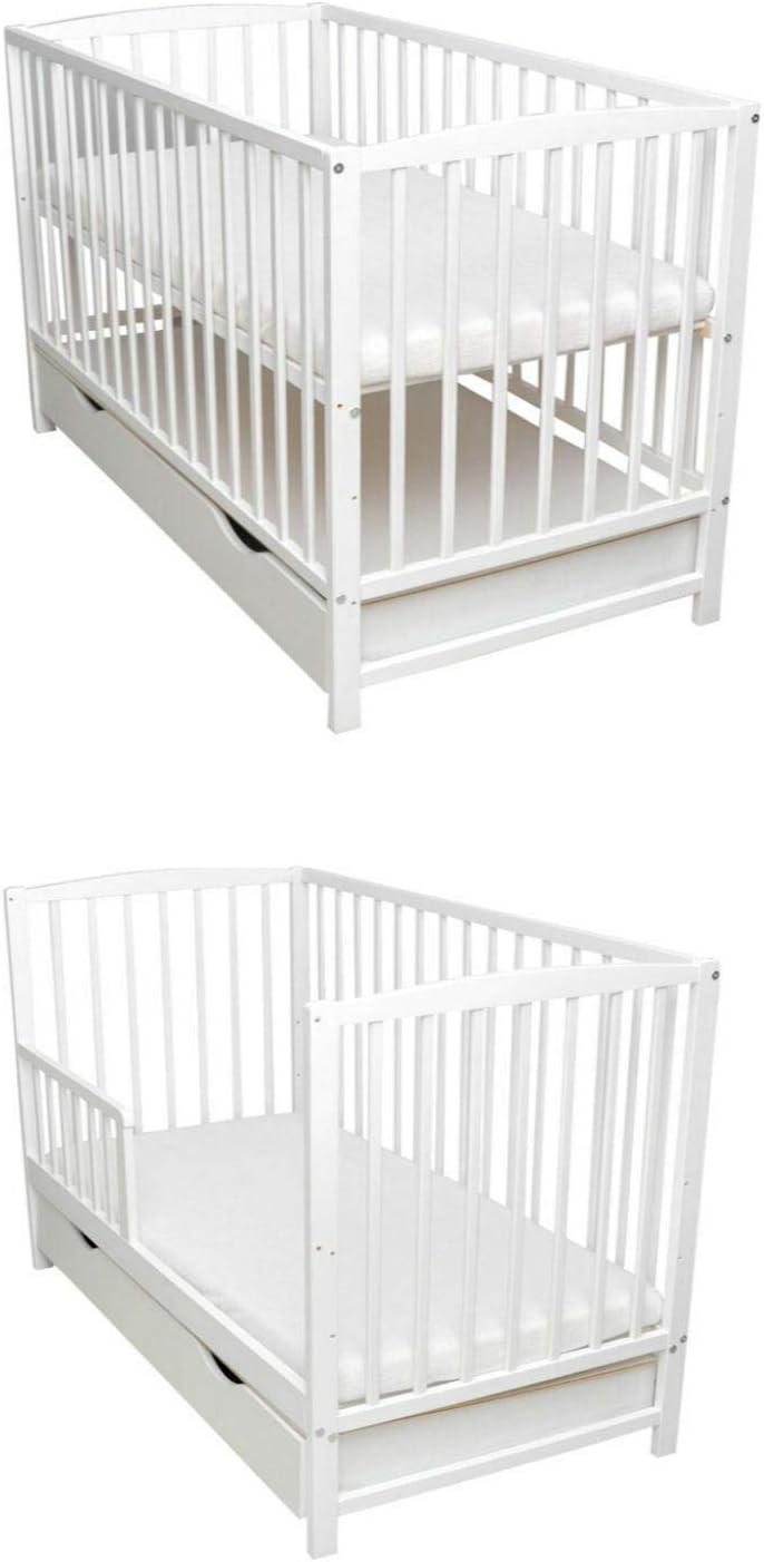 Rundum Barrera de protección para cuna de bebé, 2 en 1, 120 x 60, color blanco, espuma de coco, colchón convertible en cama infantil