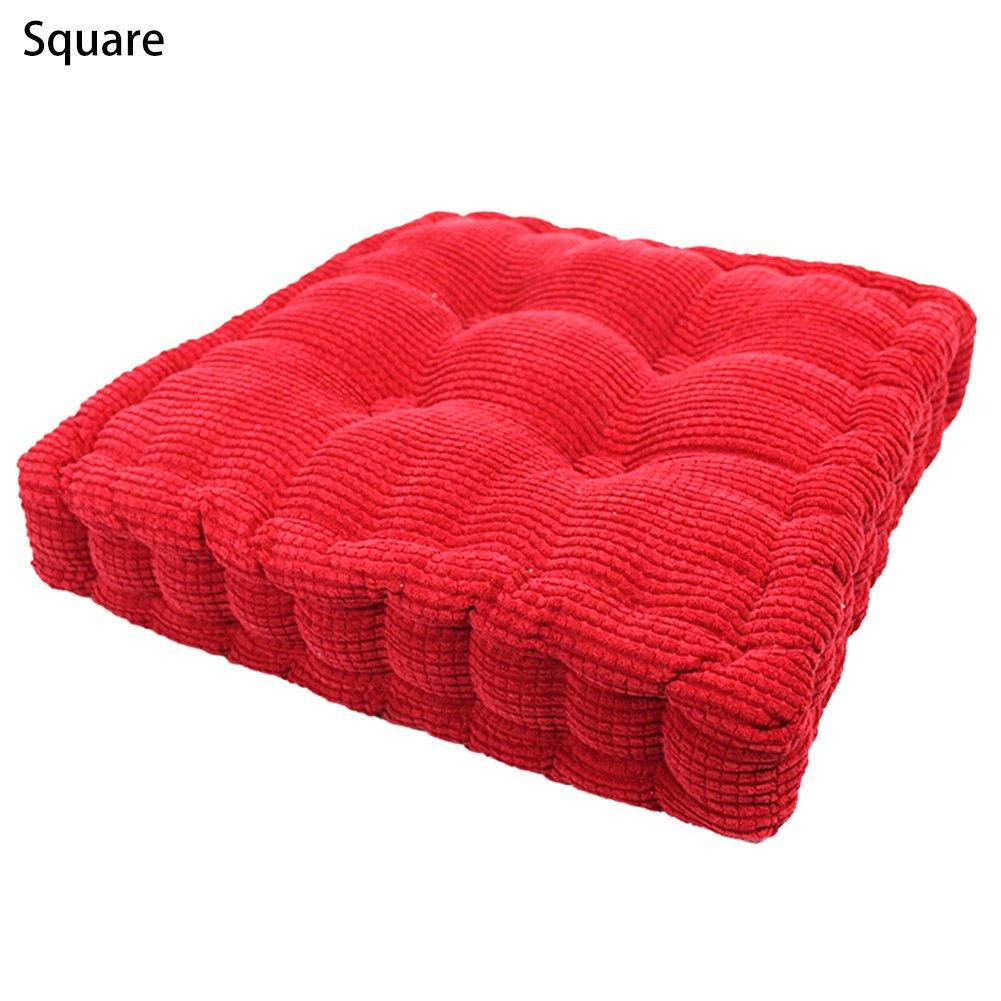 Sue Supply Cojín de pana de 4 colores gruesos, cojín de tatami, asiento de cadera, silla de comedor, cojín de asiento, silla de patio, coche, oficina, redondo/cuadrado, Naranja, cuadrado