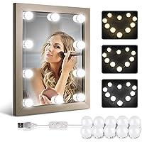 Homeasy Led-spiegellamp, dimbaar, met wit licht, natuurlijk licht en warm licht, 10 Hollywood-stijl, usb-led-spiegellamp…