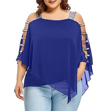 Weant Femme Chic Été T-Shirts Femmes Blouse Couleur Pure Épaule Nu Grande  Taille Ourlet 74f532db7d04