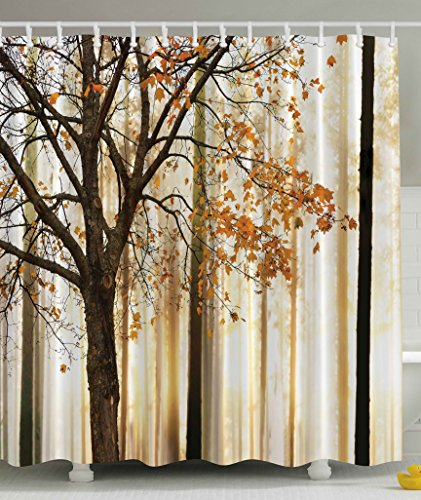 Shower Curtain Fall Trees Print Mom Gift Ideas Polyester Fabric Hooks Included, Orange Ivory Brown Beige (Bath Rug Changes Color)