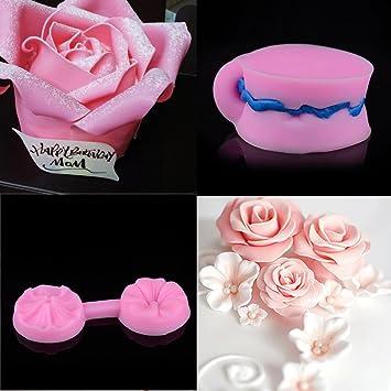 Molde Silicona reposteria 3D pétalos Rosa Rosa Molde Silicona Fondant Mini Moldes de Silicona de Flores Molde de Flores Rosas Moldes de Flores (Rosado): ...