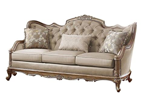 Amazon Com Fayanna Baroque Sofa In Fabric Twilight Taupe With