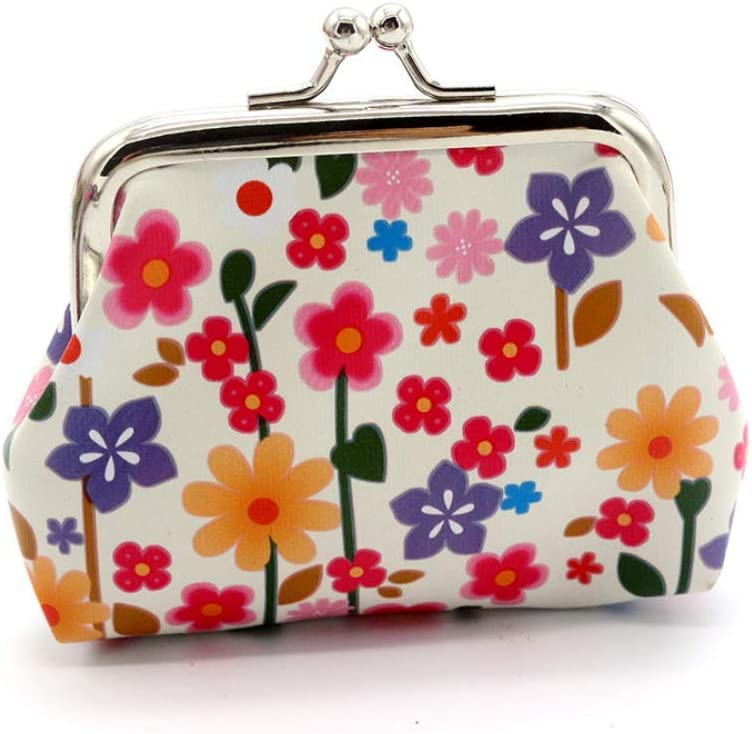 Lovely Flowers Pattern Coin Purse- Mini Flower Design Clasp Pouch Wallet Key Bags Money Bag, Perfect Gifts for Girls Purses Women Wallets Buckle Party Favors