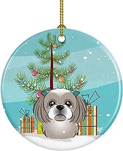 Caroline's Treasures Christmas Tree and Gray Silver Shih Tzu Ceramic Ornament, Multicolor
