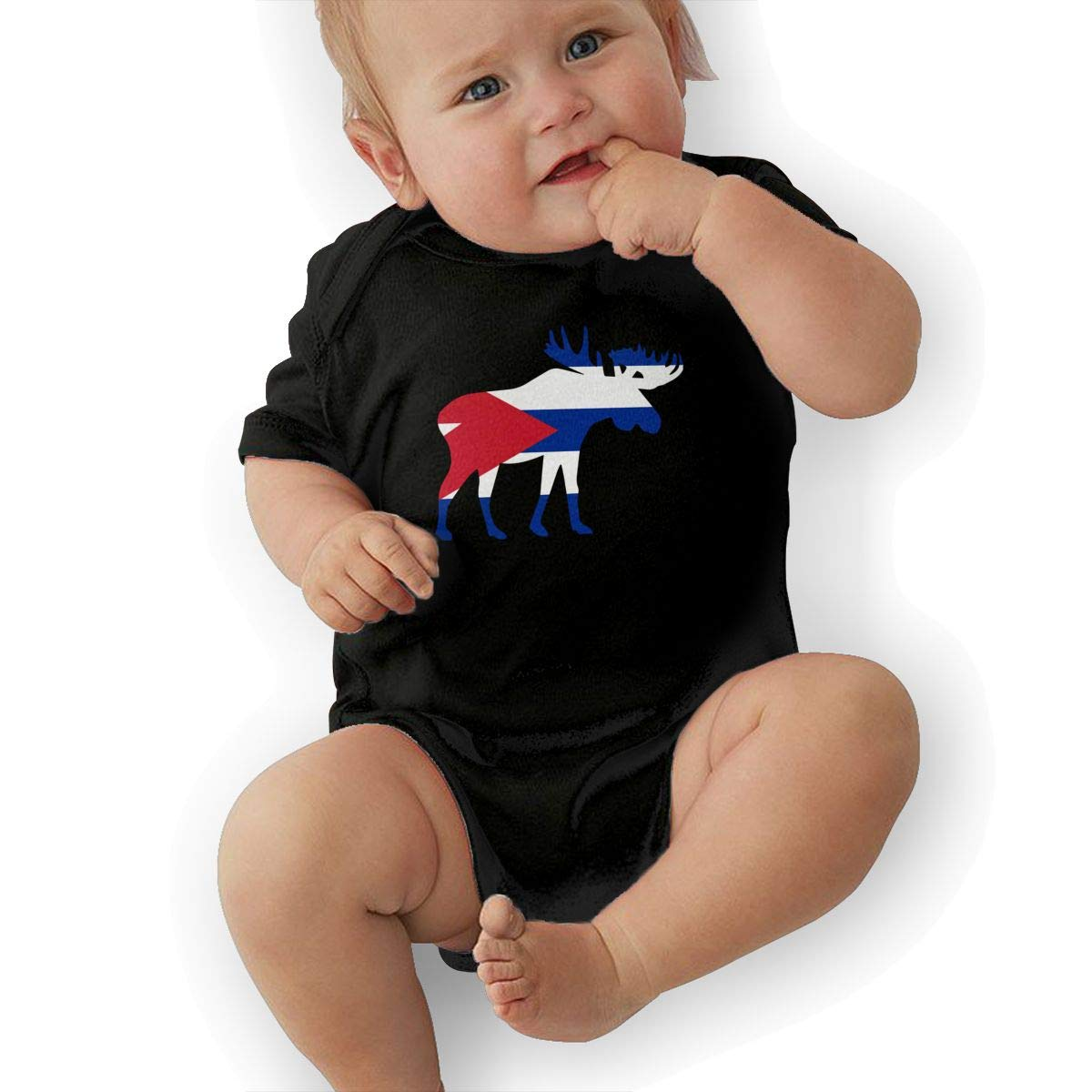 U88oi-8 Short Sleeve Cotton Rompers for Baby Boys and Girls Fashion Cuba Moose Onesies