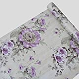 Decorating Top of Kitchen Cabinets Large Roll Self Adhesive Floral Contact Paper Shelf Liner for Kitchen Drawers Cabinets Shelves Table Arts and Crafts Wall Decal (45x1000cm,Purple)
