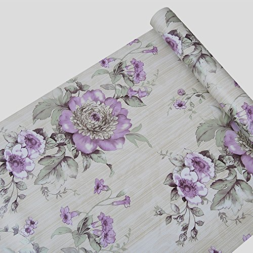 F&U Large Roll Self Adhesive Floral Contact Paper Shelf Liner for Kitchen Drawers Cabinets Shelves Table Arts and Crafts Wall Decal (45x1000cm,Purple)