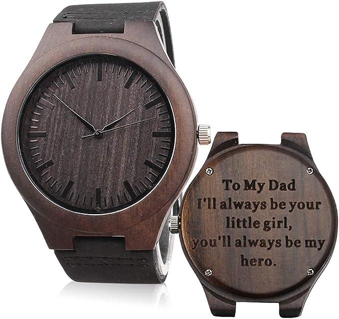 Amazon.com: Reloj de madera con grabado personalizado para ...