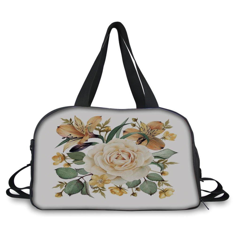 Trunk,Rose,Romantic Floral Arrangement Bridal Bouquet Corsage Spring Wedding Theme Decorative,Pale Orange Cream Green,Picture Print