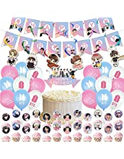 BTS Birthday Party Decorations Supplies 18 Colorful Balloons, 1 Happy Birthday Banner, 1 Big cake inserted card ,24 Pack Cake Toppers ,6 Hanging Swirl Streamers for Army Fans Girls Gift