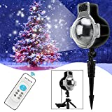 Christmas Snowfall Lights,Waterproof IP65 Outdoor LED Motion Landscape Snowflake Projector Lamp with Wireless Remote and 32ft Power Cable for Patio Garden Halloween Christmas Holiday Wedding Party