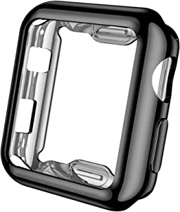 Henva Compatible with Apple Watch Case 38mm Series 3, Series 2, Series 1, Soft Overall Protective Case Ultra-Thin TPU Cover Compatible for iWatch 38mm Series 3 2 1, Black